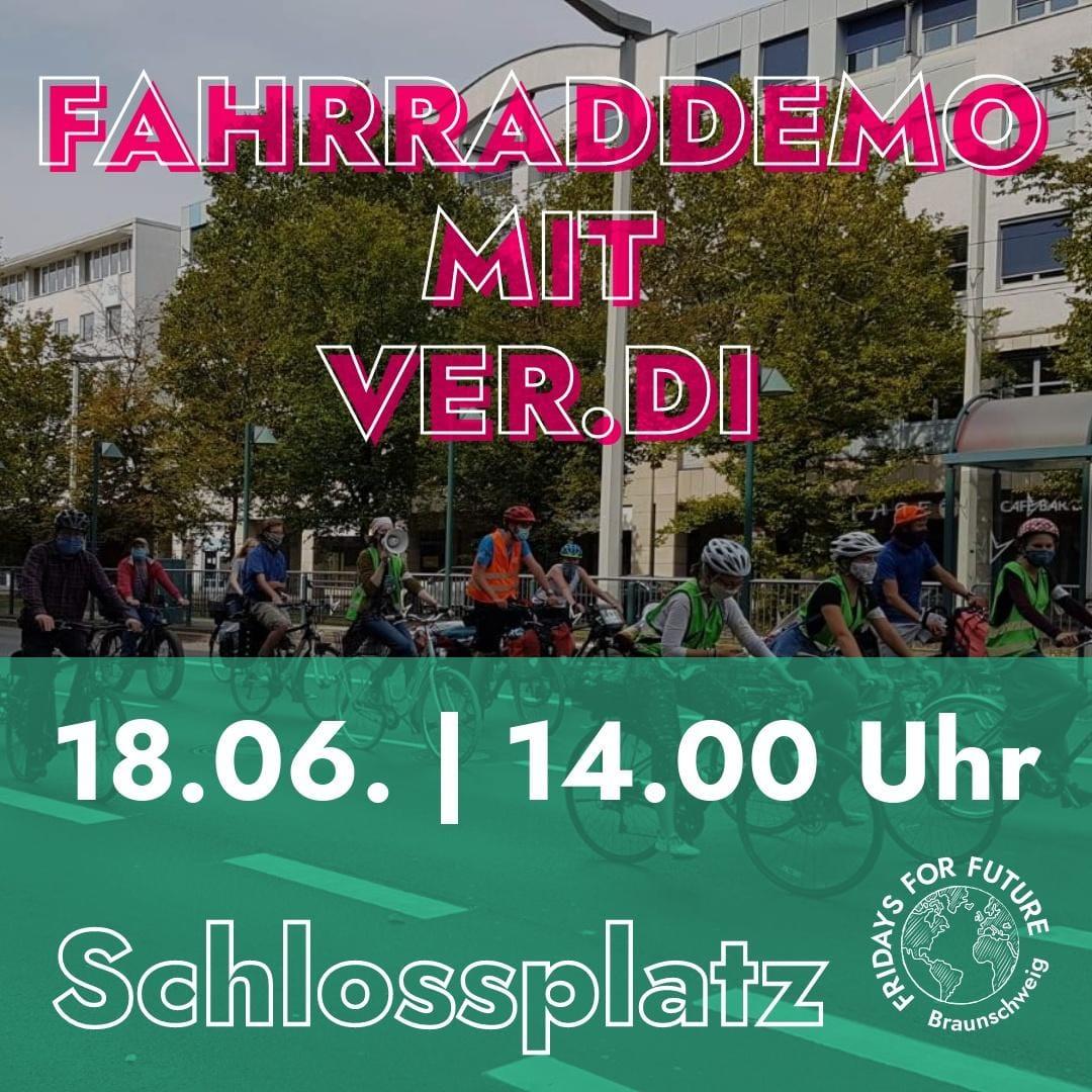 Fahrraddemo mit ver.di am 18.06. um 14.00 Uhr auf dem Schlossplatz